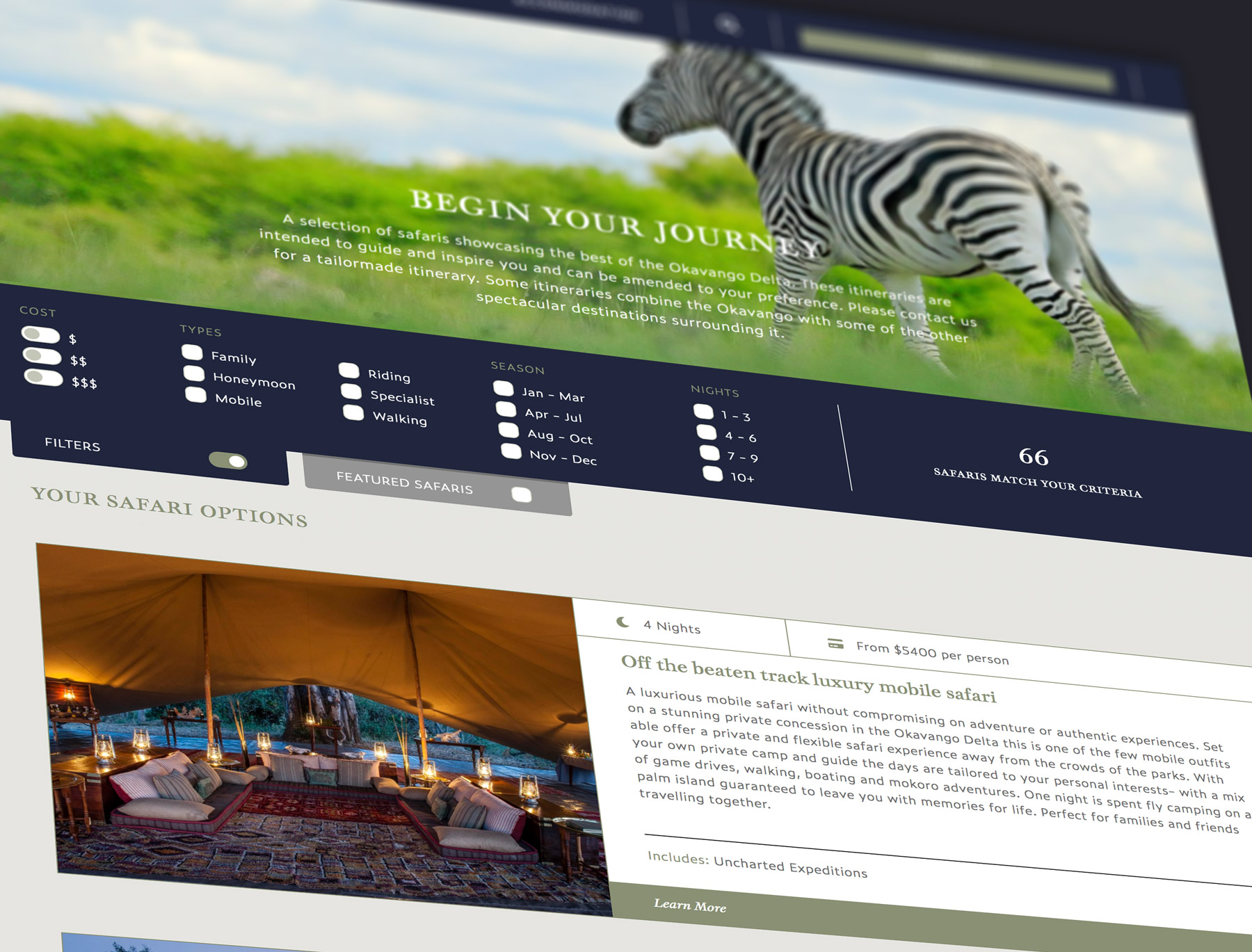 Okavango Delta Website detail